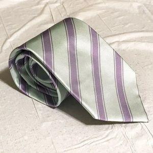 Luigi Borrelli Green Purple Stripe Tie 3 Fold